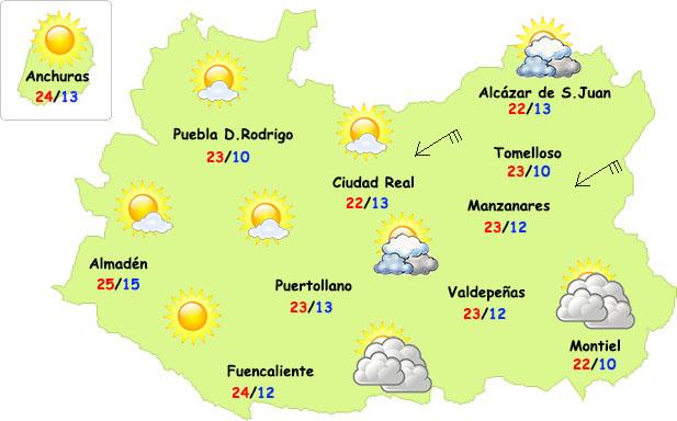 El tiempo en Ciudad Real: martes con más nubes en el este y bajada de temperaturas