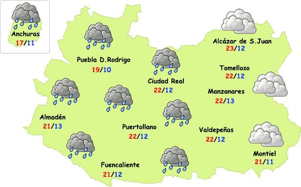Este domingo un frente cruzará Ciudad Real dejando lluvias y un descenso térmico a su paso